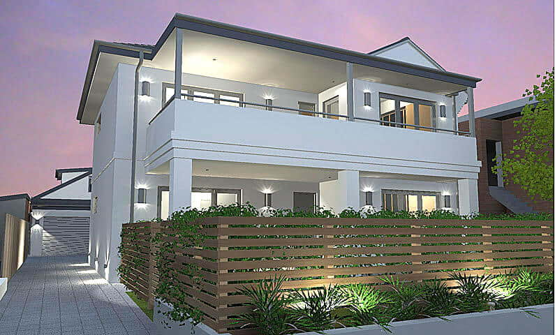 Beach Flat Manly - New home concept in 3D designed by All Australian Architecture