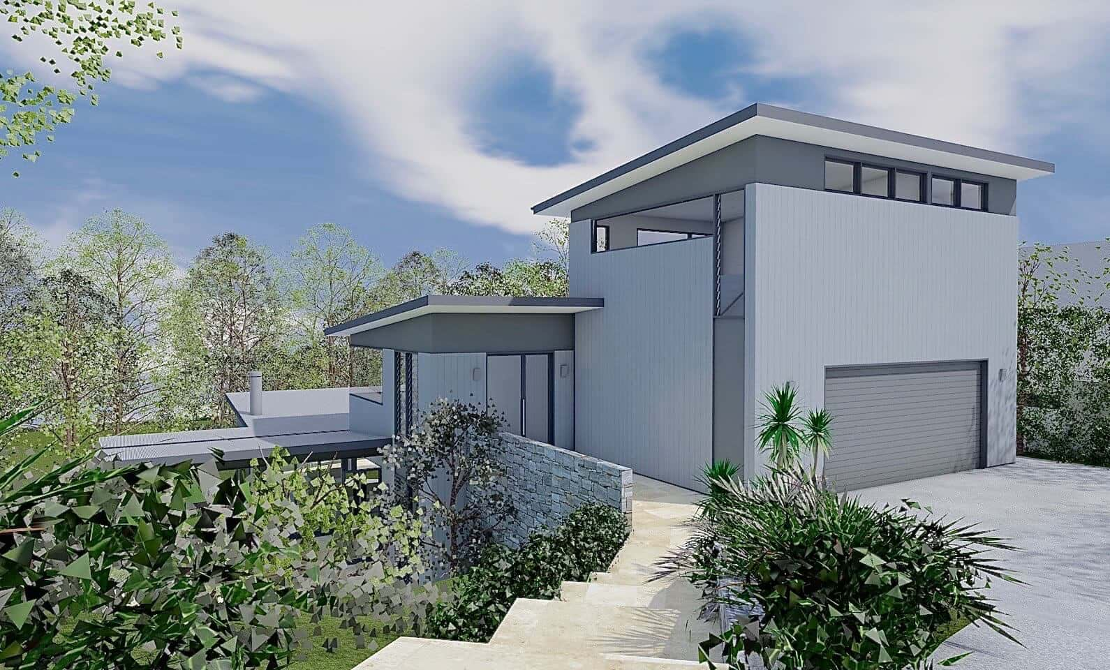 Bush House - View from Driveway - New home concept in 3D designed by All Australian Architecture