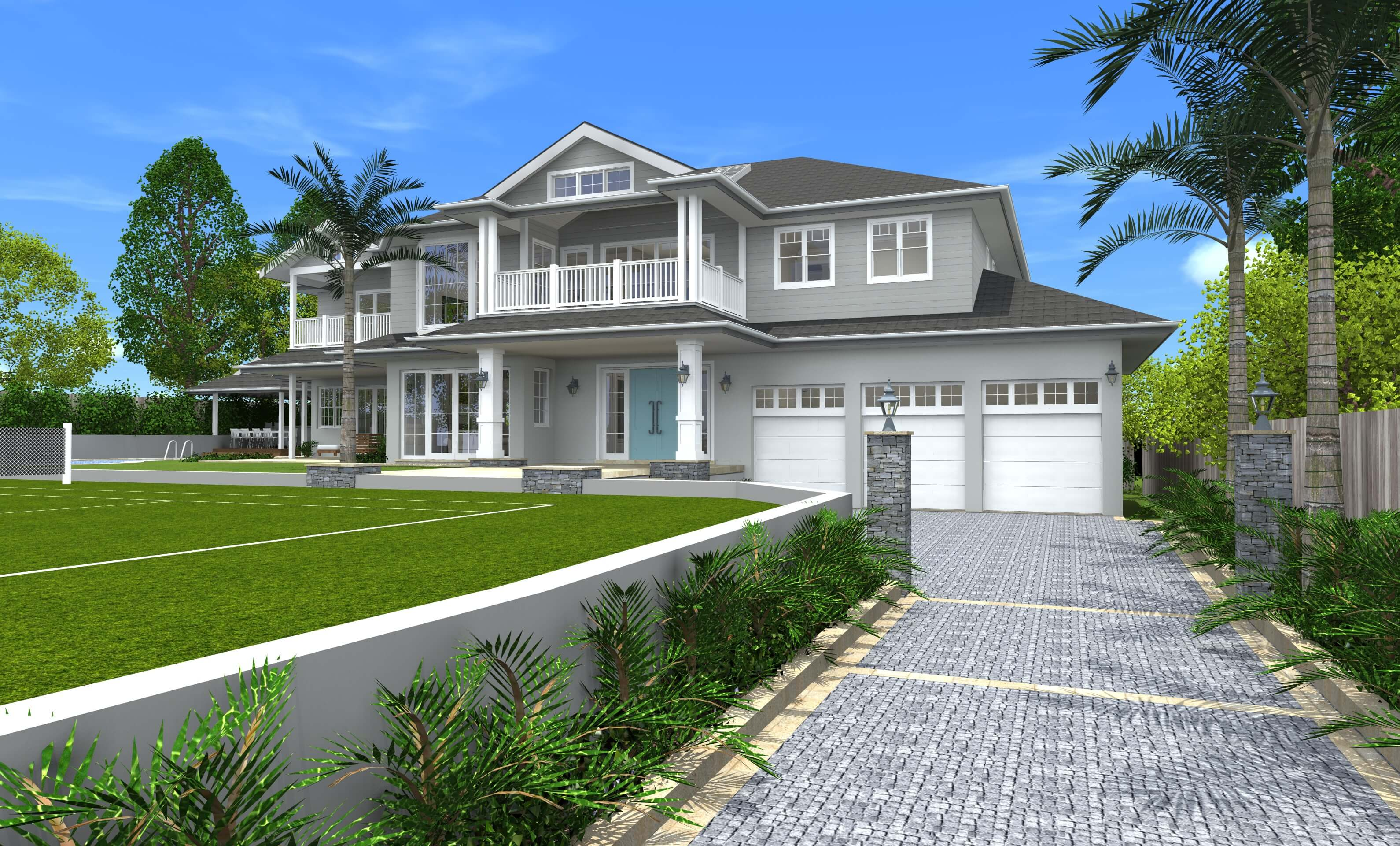 Architect design 3d concept hamptons style st ives for Hampton style homes