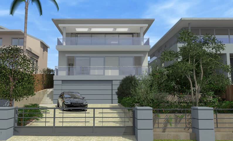 Architect design 3d concept mosman house balmoral sydney for Home designs for sloping blocks