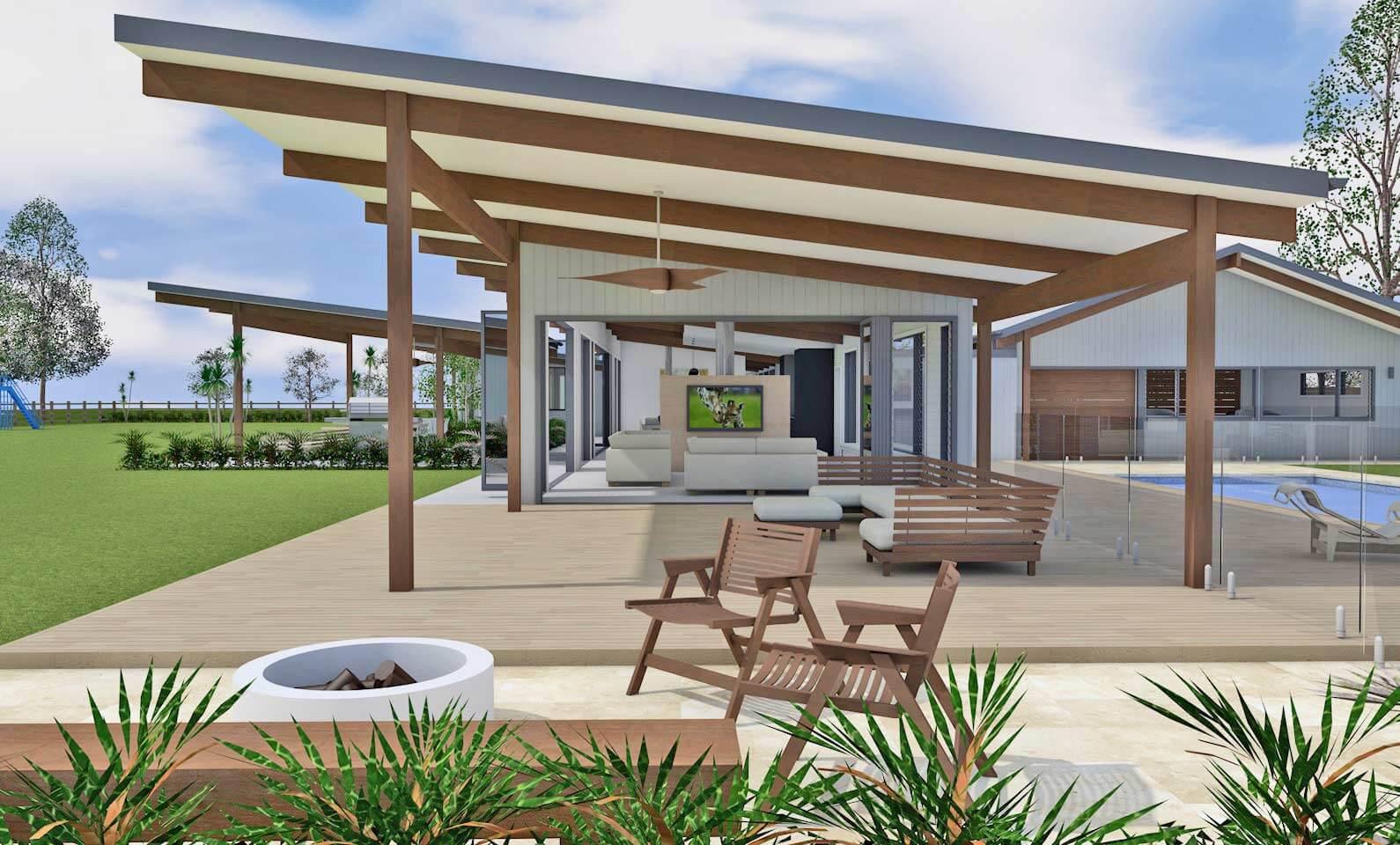 Architect design 3d concept vintage house hunter valley for Pavillion home designs australia